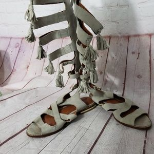 Rebecca Minkoff light Grey Gladiator Sandal boot 7